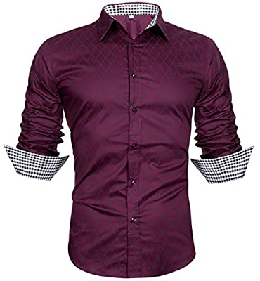 Sykooria Men's Cotton Business Casual Long Sleeves Plaid Slim Fit Button Down Dress Shirts