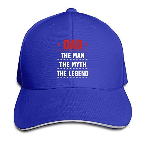 SKOKT Dad The Man The Myth The Legend Unisex Baseball Cap Golf Hats Plain Cap Blue