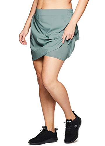 RBX Active Women's Plus Size Woven Skort w/Bike Shorts and Pockets S19 Green 2X