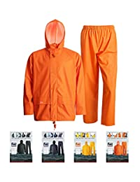Rain Suits for Men Heavy Duty Workwear Waterproof Jacket with Pants 3 Pcs(Flame, X-Large)