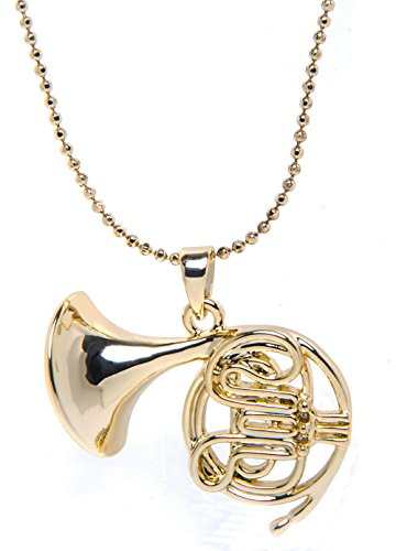 Menalisa Sterling 925 Real Silver French Horn Three-Dimensional Hollow Music Pendant Necklace (Gold)