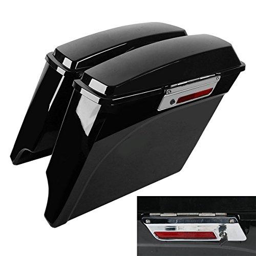 TCMT 5'' Hard Saddle Bags Extended Saddlebag Trunk + Lid Latch Keys Fits for Harley Touring FLH FLT Electra Glide Road King Ultra Street 1993 1994-2013