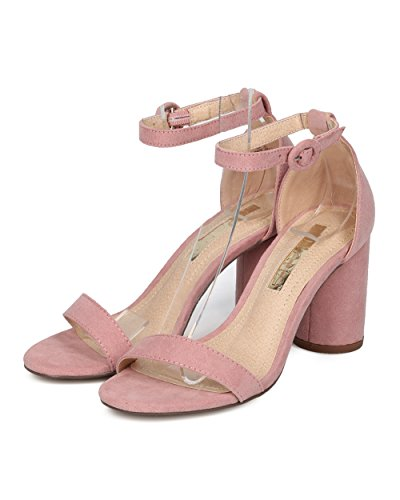 Alrisco Women Minimalist Block Heel Sandal - Open Toe Round Chunky Heel - Dressy Versatile Wedding Special Occasion Formal Heel - HC47 by Liliana Collection Dusty Rose Faux Suede wTJbVCiMn