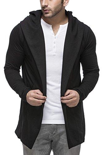 Tinted Mens Cotton Blend Hooded Cardigan, Black, Medium (Cotton Blend Jacket)