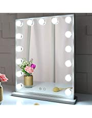 BEAUTME Hollywood Makeup Vanity Mirror with Lights,Bedroom Lighted Standing Tabletop Mirror,LED Cosmetic Beauty Tabletop Mirror with 15 Dimmable Bulbs, Wall Mounted Lighting Mirror