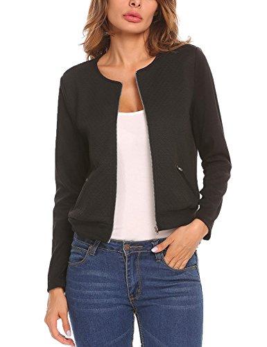 Mofavor Women's Lightweight Zip-Up Knit Sweater Cardigan Short Bomber Jacket (Jacket Quilted Sweater)