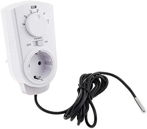 ChiliTec Analoges Steckdosen-Thermostat 230V mit externem Fühler I Drehregler I max. 3500W I Für Heiz und Kühlgeräte in Terrarium Vogelzucht Pflanzen