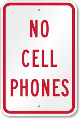 No Cell Phones Sign, Engineer Grade Reflective Aluminum S...