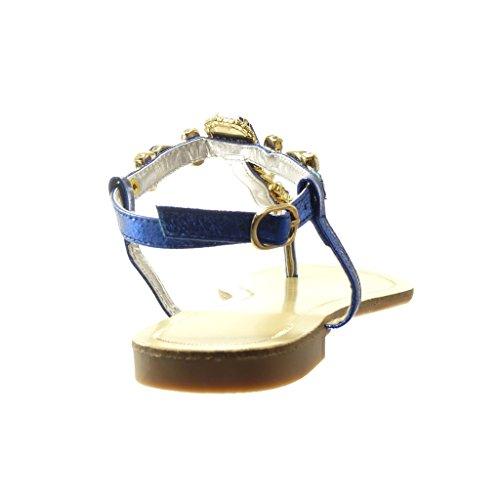 Angkorly Chaussure Mode Sandale Tong salomés femme bijoux strass diamant fantaisie Talon plat 1.5 CM - Bleu