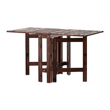Ikea Applaro Drop Leaf Folding Wood Table Brown Seats 2   4