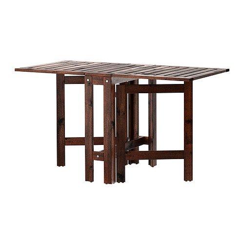 Ikea Applaro Drop-leaf Folding Wood Table Brown Seats 2 – 4