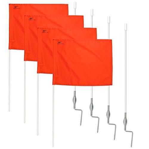 AGORA Fiberglass Portable Soccer Corner Flags with Spring Base - Set of 4