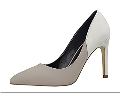 Ryse Women's Fashionable Mixed Color Leather Elegant Temperament High Heels Pointy Shoes