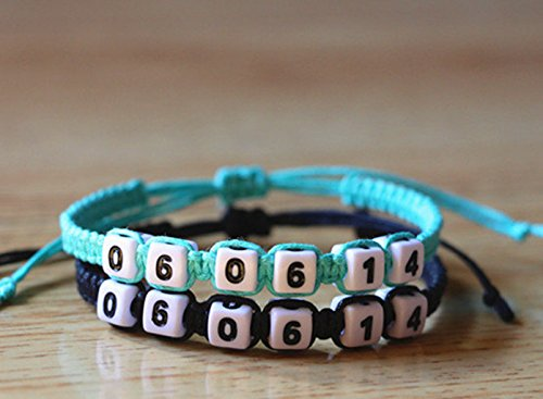 Date Couple Bracelet White Numbers with Blue and Navy Blue Rope Bracelet Graduation Gift