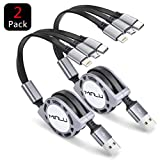 Minlu 2 Pack Multi Retractable 3.0A Fast Charger Cord, Multiple Charging Cable 4Ft/1.2m 3-in-1 USB Charge Cord with Phone/Type C/Micro USB for Phone/Huawei/Samsung Galaxy/Pixel/Sony/LG/HTC (Gray)