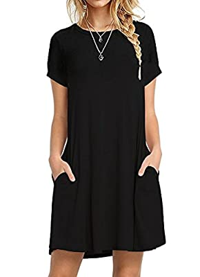 i2crazy Women's Pockets Casual Plain T-shirt Loose Dresses