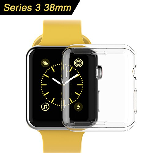 ToaPoPi Apple Watch 38mm Series 3 Soft TPU Cover Case [99% high transparency] [Ultra Slim] for iWatch Series 3 38mm 2017 Release - Clear