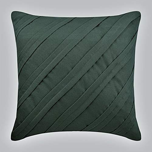 Olive Green Pillows Cover, 18x18 Inch Pillow Case, Faux Suede Decorative Pillows Cover, Textured Pintucks Solid Color Throw Pillows Cover, Striped Decorative Pillow Covers Green - Olive
