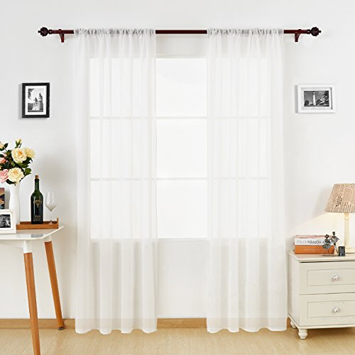 Panel 84l (Deconovo Sheer White Curtains 84 Inches Long Rod Pocket Linen Look Transparent voile curtains for Bedroom 60W x 84L White 2 Panels)