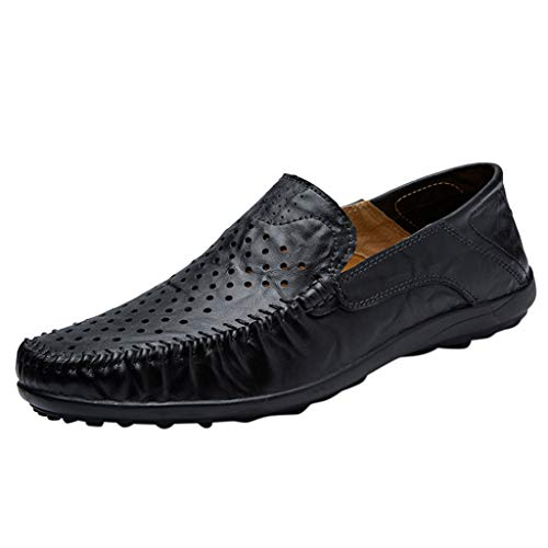 Answerl Men's Casual Leather Loafer Shoes Breathable Hole Slip On Driver Boat Moccasins Business Shoe Black