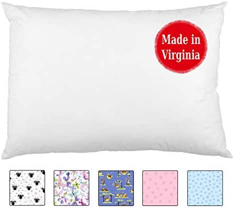 A Little Pillow Company Toddler Pillow (13x18) - Handmade in USA for Over 12 Years | Double-Stitched | Hypoallergenic | Machine-Washable (White)