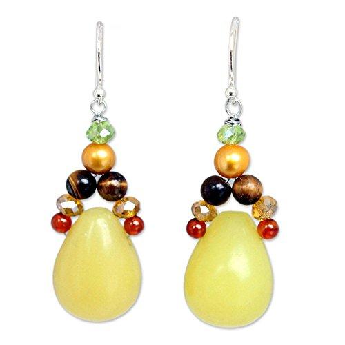 NOVICA Multi-Gem Dyed Cultured Freshwater Pearl .925 Silver Glass Beaded Earrings, Sunshine River
