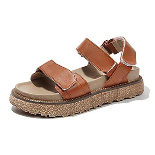 LIXIONG verano mujer sandalias Wedgies Fondo grueso Zapatos retro con punta abierta Velcro, Con alto 4cm, 3 colores -Zapatos de moda (Color : Blanco, Tamaño : EU37/UK4-4.5/CN37/235) Marrón