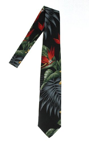 Hawaii Neckties, Black Paradise Flower (Tie Hawaii)