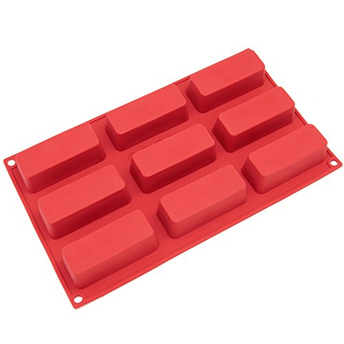 Freshware SL-113RD 9-Cavity Narrow Silicone Mold for Soap, Cake, Bread, Cupcake, Cheesecake, Cornbread, Muffin, Brownie, and More