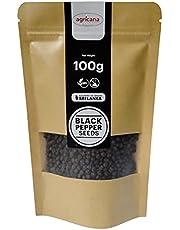 Agricana Ceylon Black Pepper Natural Chemical Free Peppercorns - Fresh & Authentic Ceylon Pepper -Pure Vegan Whole Pepper100g for Grinder Refill -Intense Ceylon flavour Non-GMO & No Additives