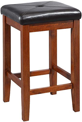 Crosley Furniture CF500524-CH Upholstered Square Seat Bar Stool (Set of 2), 24-inch, Classic Cherry