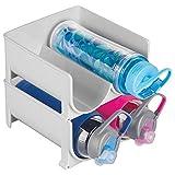 mDesign Plastic Freestanding Water Bottle Storage Organizer for Kitchen Countertop, Table, Pantry, Fridge - Holds Water Bottles, Pop/Soda, Wine, Beer - Stackable, 4 Bottles, 2 Pack - Light Gray