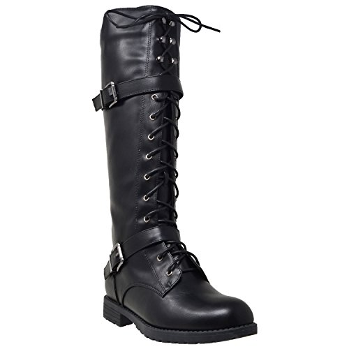 Generation Y Womens Knee High Boots Combat Lace up Buckle Block Heel Shoes Black SZ 7.5 - Sole Combat Boots