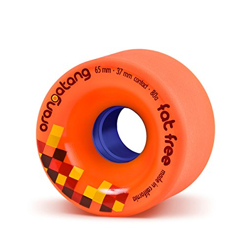 Orangatang Fat Free 65 mm 80a Freeride Longboard Skateboard Wheels (Orange, Set of 4)