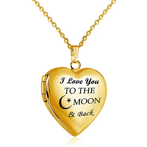 YOUFENG Love Heart Locket Necklace That Holds Pictures Engraved I Love You to The Moon and Back Photo Lockets (18K Gold Locket) ()