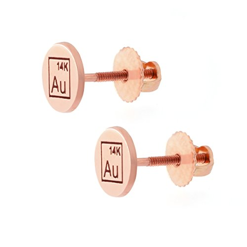 Automic Gold Solid 14k Rose Gold Disk Earrings