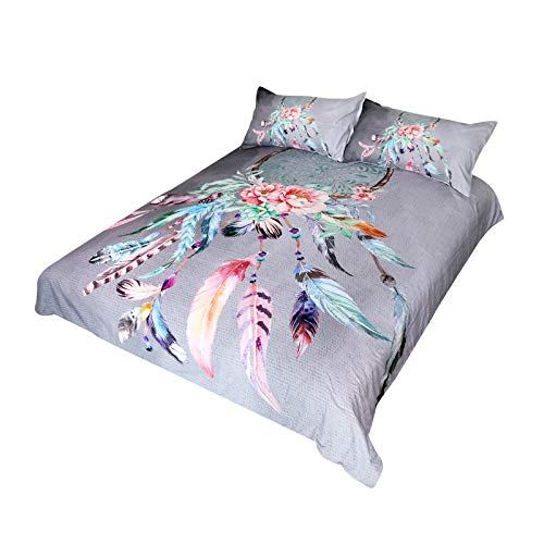BlessLiving Big Dreamcatcher Colors Bedding 3 Piece Dream Catcher Duvet Cover Set Boho Doona Cover Hippie Bedspread Coverlet Full Light Gray