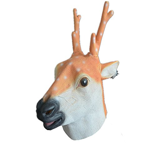 Space Related Halloween Costumes (Deer Mask Latex Slip-on Full Head Animal Mask for Halloween Cosplay)