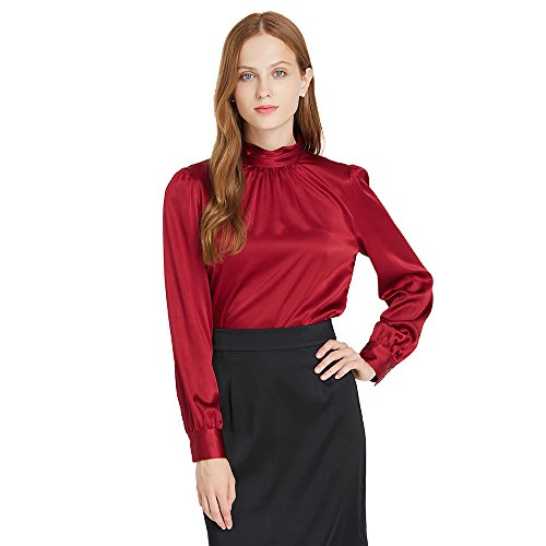 LilySilk Silk Blouses For Women Long Sleeve 100 Mulberry Charmeuse 19MM Retro Style Ladies Royal Top Claret ()