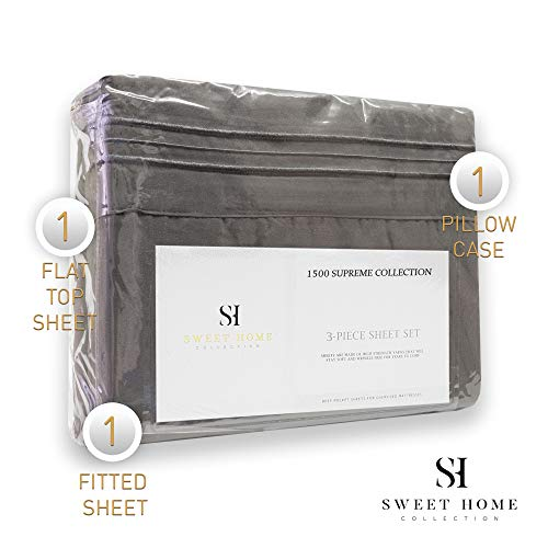 1500 Supreme Collection Extra Soft Twin XL Sheets Set, Gray - Luxury Bed Sheets Set with Deep Pocket Wrinkle Free Hypoallergenic Bedding, Over 40 Colors, Twin XL Size, Gray