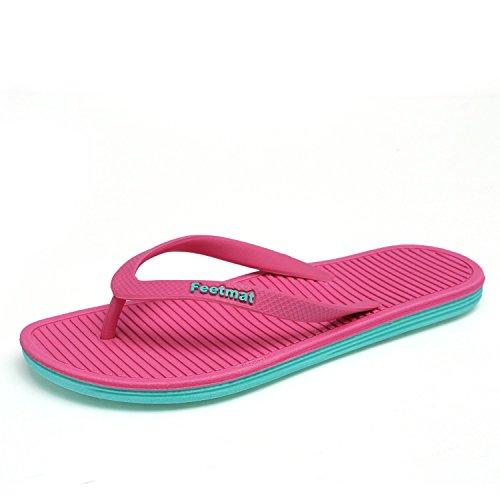 Sky-Pegasus Big Size 36-45 Men Sandals New Brand Flip Flops Men Beach Slippers for Women Summer Shoes,017 Rose red,7.5