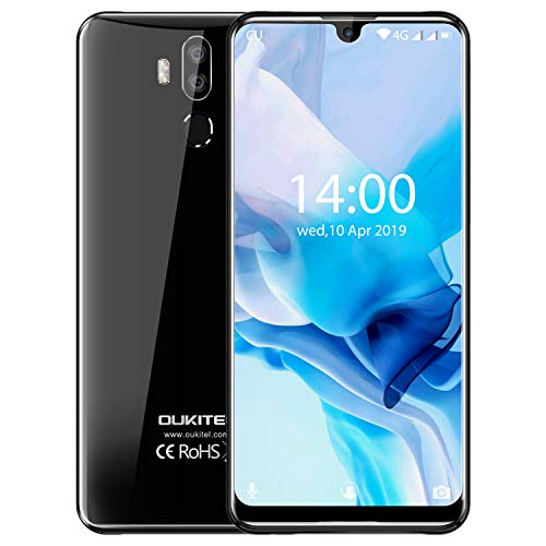 "OUKITEL K9 Unlocked Cell Phones 7.12"" FHD+ Water Drop Screen 4GB RAM+64GB ROM,16MP+8MP Dual Camera, 6000mAh Battery 4G Android 9.0 Unlocked Smartphones, Dual SIM Smartphone Support OTG(Black)"