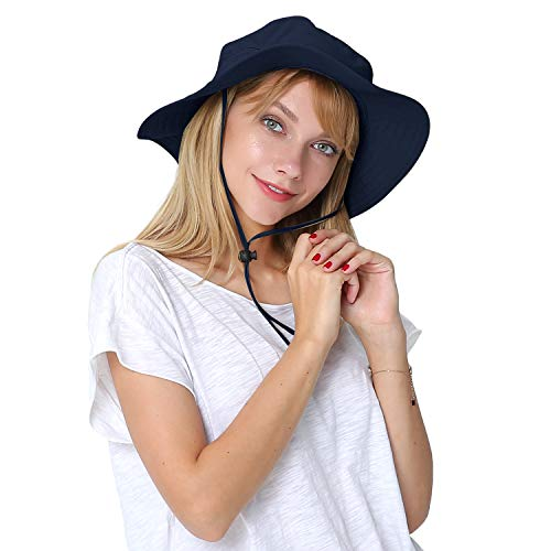 Outdoor Wide Brim Boonie Sun Cap for Men Women Military Bucket Hat for Sports & Travel Navy -