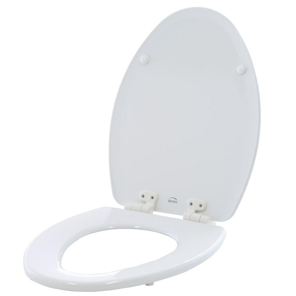 Bemis Manufacturing Adjustable Slow Close Never Loosens Elongated Closed Front Toilet Seat in White