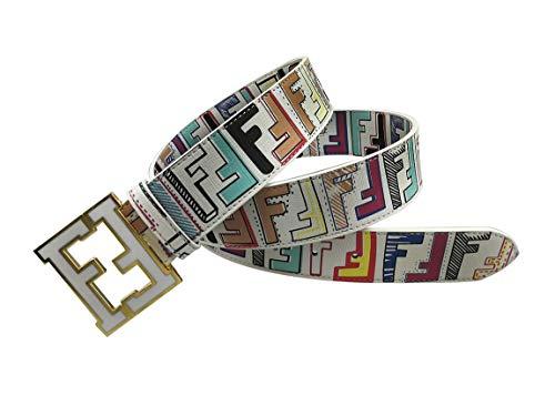 Fashion Men's belts Alloy buckle pants dress belt (Colored white, 110cm) (Colored Buckle)