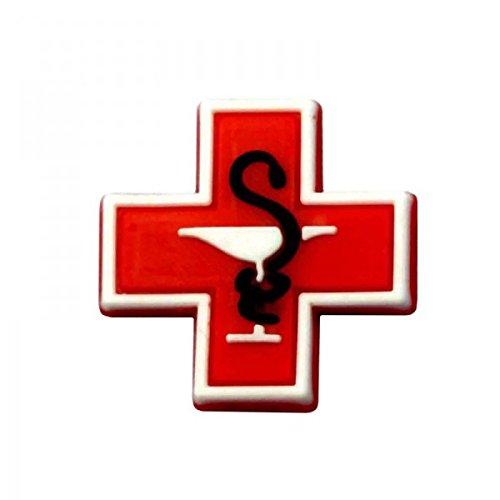 Pinzz croix rouge non d/éfinie Pins pour sabot plastique compatible crocs