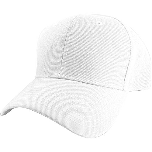 Baseball White Cap Logo (Plain Curved Fitted Sized Baseball Cap)