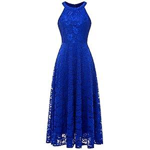 0dabdd5097207f MUADRESS 6012 Elegant Women Evening Dress Floral Lace Long Halter Swing  Cocktail Party Dress XL RoyalBlue