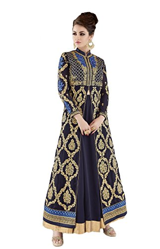 ziya Heavy Designer Indian Wear Long Anarkali Salwar Salwar Kameez Glossy (Navy Blue, Customize Order) (Blue Suit Salwar)