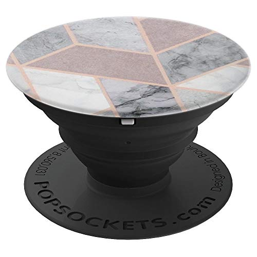 Pop Socket Marble Grey Pink Rose Gold White Geometric Design - PopSockets Grip and Stand for Phones and Tablets